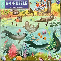 64 Piece Puzzle: Otters at Play